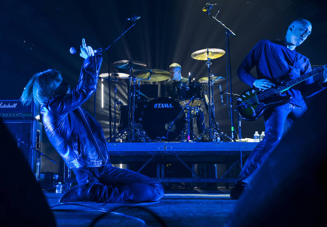 Wesley Eisold, from left, Alex Garcia-Rivera, and Josh Holden of American Nightmare perform at The Joint during Psycho Las Vegas at the Hard Rock Hotel in Las Vegas on Saturday, Aug. 18, 2018. Cha ...