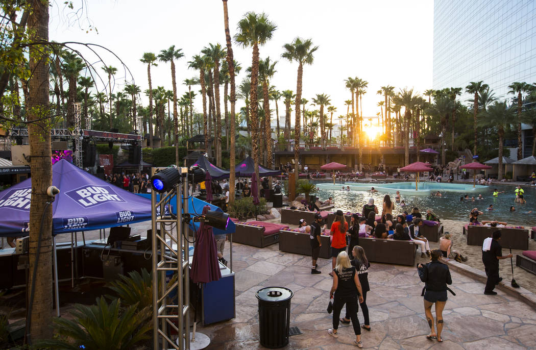 Attendees visit the pool area before the start of performances during Psycho Las Vegas at the Hard Rock Hotel in Las Vegas on Saturday, Aug. 18, 2018. Chase Stevens Las Vegas Review-Journal @csste ...