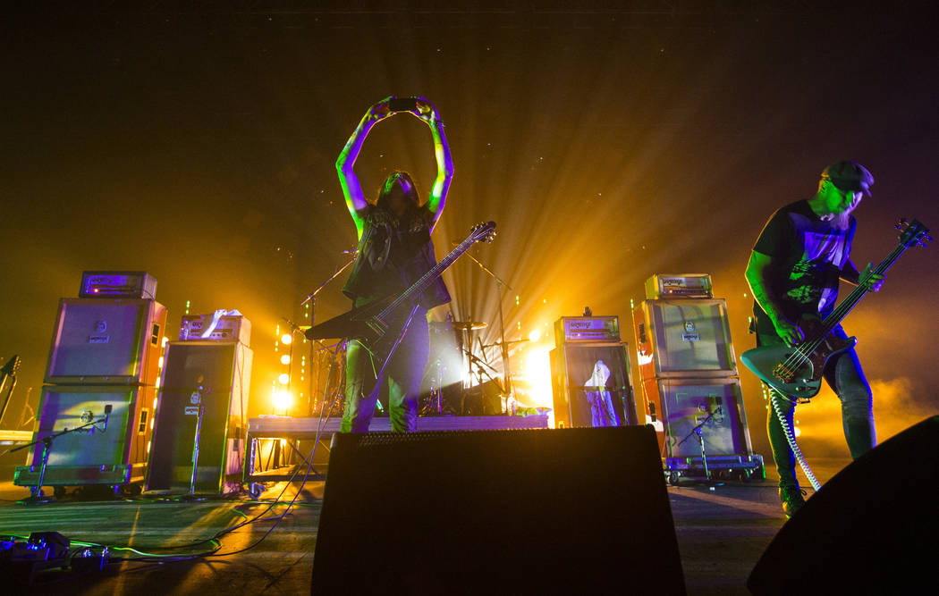 Thomas Jager of Monolord, left, takes a picture as the band performs at The Joint during Psycho Las Vegas at the Hard Rock Hotel in Las Vegas on Saturday, Aug. 18, 2018. Chase Stevens Las Vegas Re ...