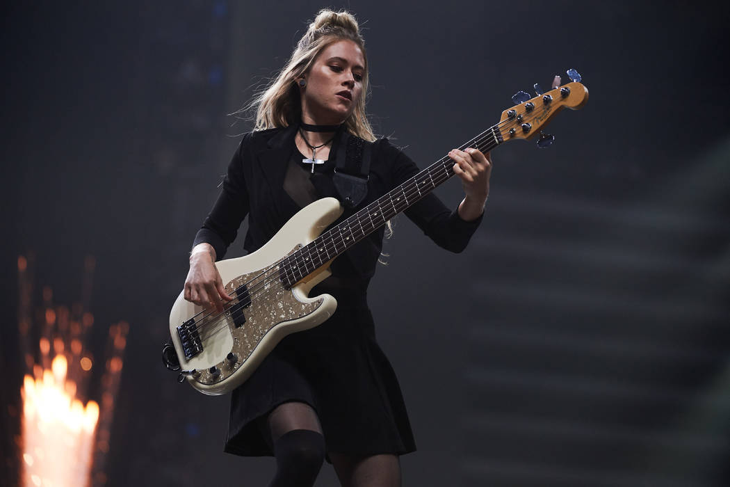 Panic! At the Disco bassist Nicole Row is shown in concert at T-Mobile Arena on Saturday, Aug. 18, 2018. (Al Powers for T-Mobile Arena)