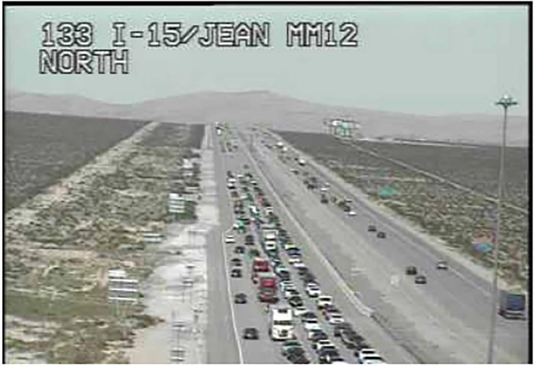 Traffic is backed up about 12 miles on Interstate 15 toward California on Sunday afternoon, the Regional Transportation Commission of Southern Nevada said. (RTC FAST Traffic Cams)