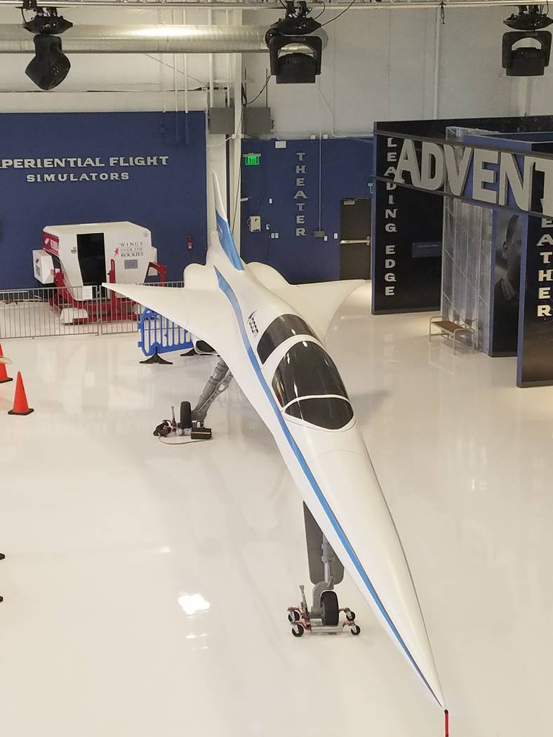"A scale model of the XB-1 ""Baby Boom"" test vehicle was on display Saturday, Aug. 18, 2018, at a hangar at Centennial Airport in Englewood, Colorado. Richard N. Velotta/Las Vegas Review-Journal"