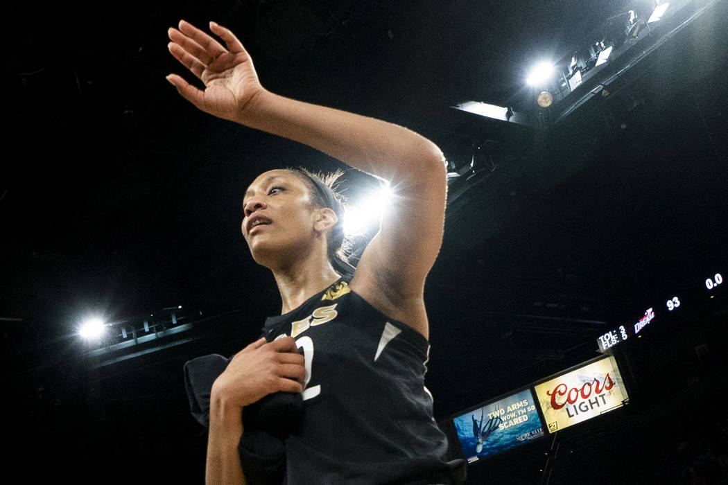 Las Vegas Aces center A'ja Wilson (22) waves to the crowd after losing 93-78 in a WNBA basketball game against Atlanta Dream at the Mandalay Bay Events Center in Las Vegas, Sunday, Aug. 19, 2018. ...