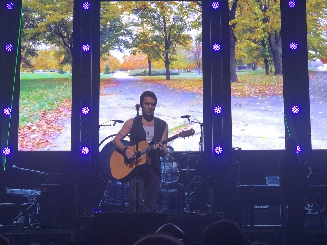 """Brody Dolyniuk is shown during """"Zeppelin USA: An American Tribute to Led Zeppelin"""" at Reynolds Hall at the Smith Center for the Performing Arts on Friday, Aug. 17, 2018. (John Katsilometes/Las ..."""
