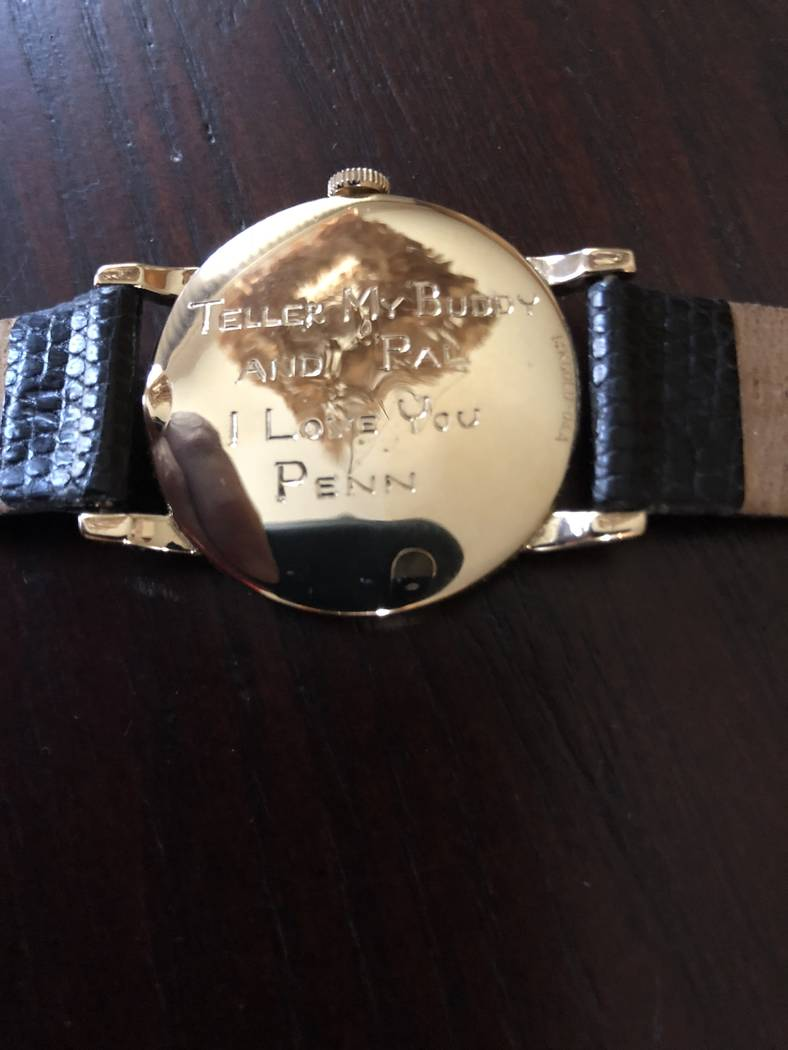 Teller's inscribed watch given to him by Penn Jillette while Teller was hospitalized after back surgery on July 2, 2018. (Glenn Alai)