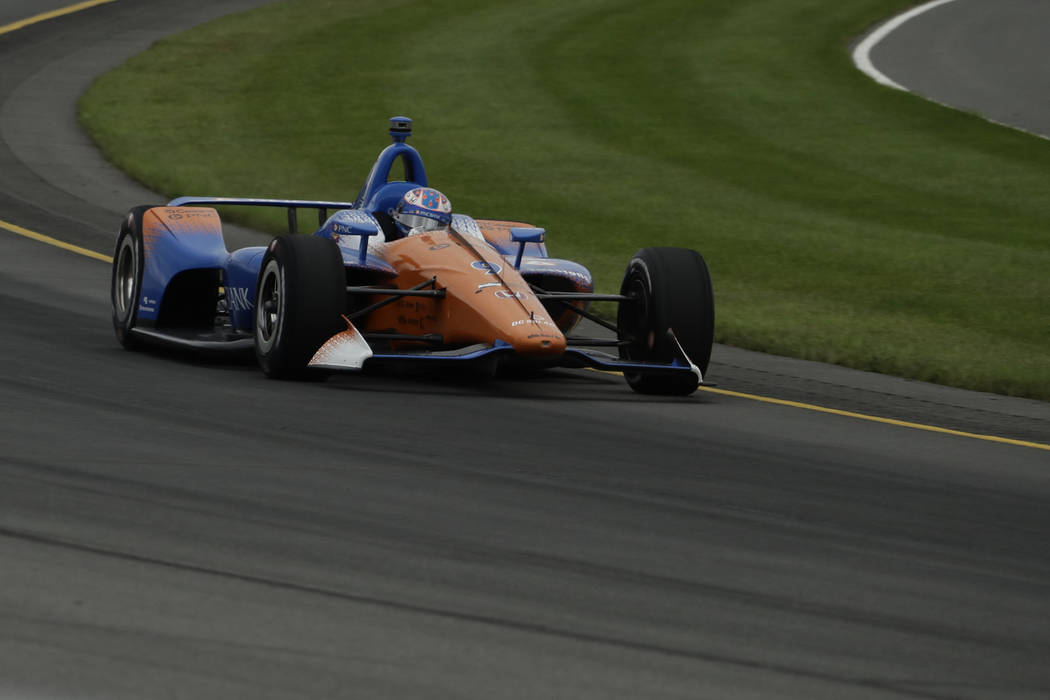 Scott Dixon (9) in action during the IndyCar auto race at Pocono Raceway, Sunday, Aug. 19, 2018, in Long Pond, Pa. (AP Photo/Matt Slocum)