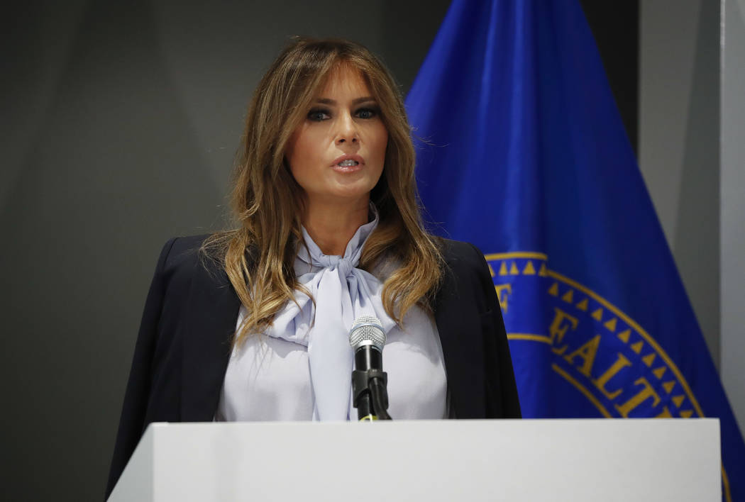 First lady Melania Trump speaks as she attends the 6th Federal Partners in Bullying Prevention Summit at Health and Human Service in Rockville, Maryland, Monday, Aug. 20, 2018. (Pablo Martinez Mon ...