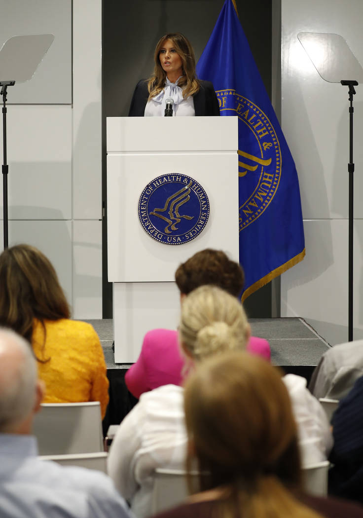 First lady Melania Trump speaks as she attends the 6th Federal Partners in Bullying Prevention Summit at Health and Human Service in Rockville, Maryland., Monday, Aug. 20, 2018. (Pablo Martinez Mo ...