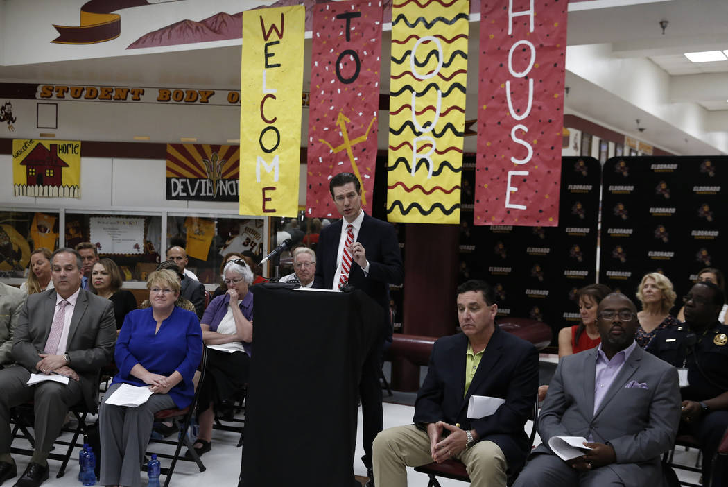 Mike Barton, Clark County School District chief college, career and equity officer, speaks during a press conference at Eldorado High School on Friday, Aug. 24, 2018, announcing a new school justi ...