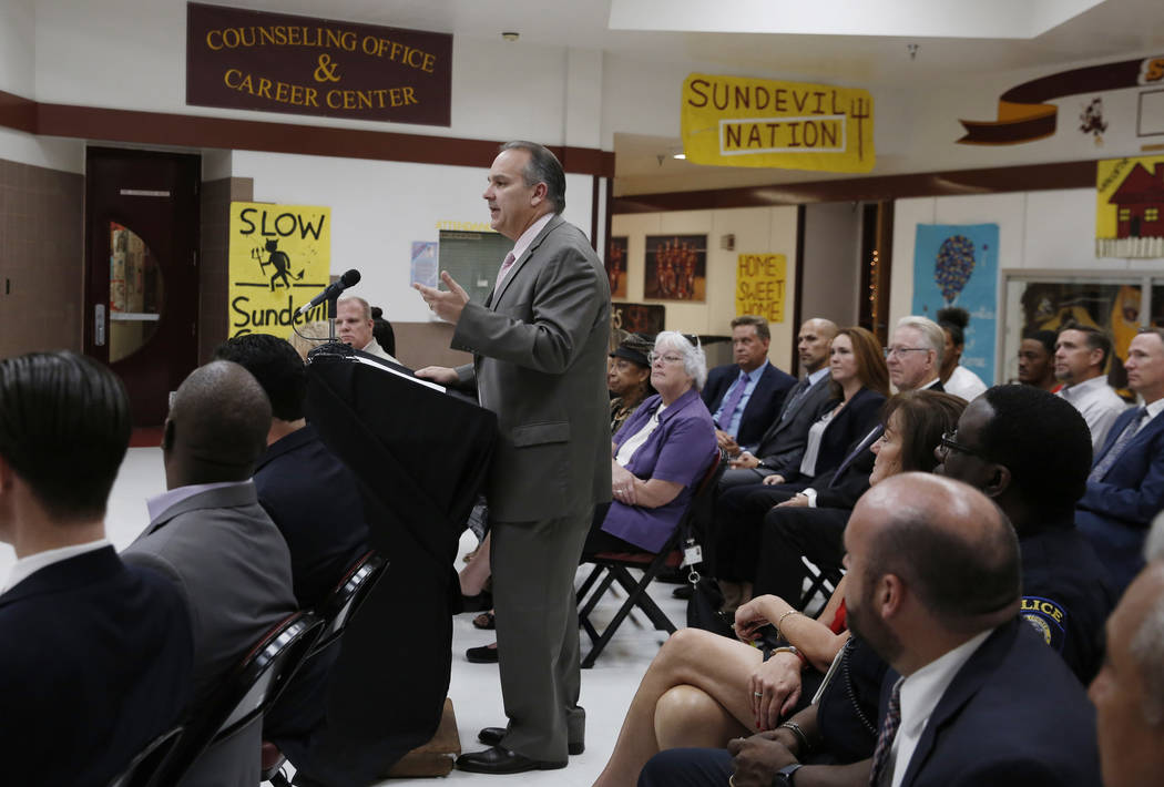 Clark County School District Superintendent Jesus Jara speaks during a press conference at Eldorado High School on Friday, Aug. 24, 2018, announcing a new school justice partnership to reduce the ...