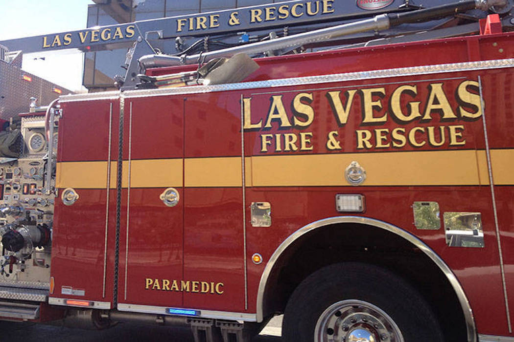 A man was injured Monday afternoon when he was hit by a train near downtown Las Vegas. (Las Vegas Fire Department)