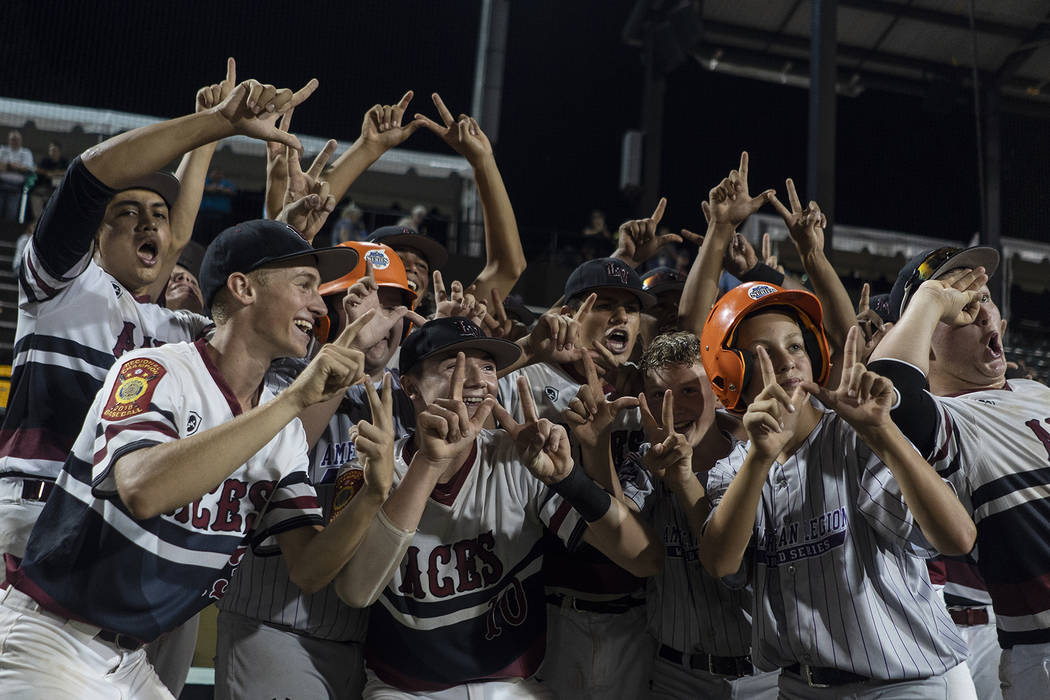 Desert Oasis celebrates its win over Gonzales, La., in game 14 of The American Legion World Series at Veterans Field at Keeter Stadium in Shelby, N.C., on Monday, Aug. 20, 2018. Photo by Chet Stra ...