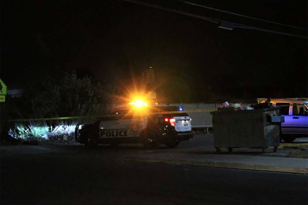 A person was found dead of a head injury inside a vehicle Tuesday, Aug. 21, 2018, on the 2200 block of Sunrise Avenue. (Max Michor/Las Vegs Review-Journal)