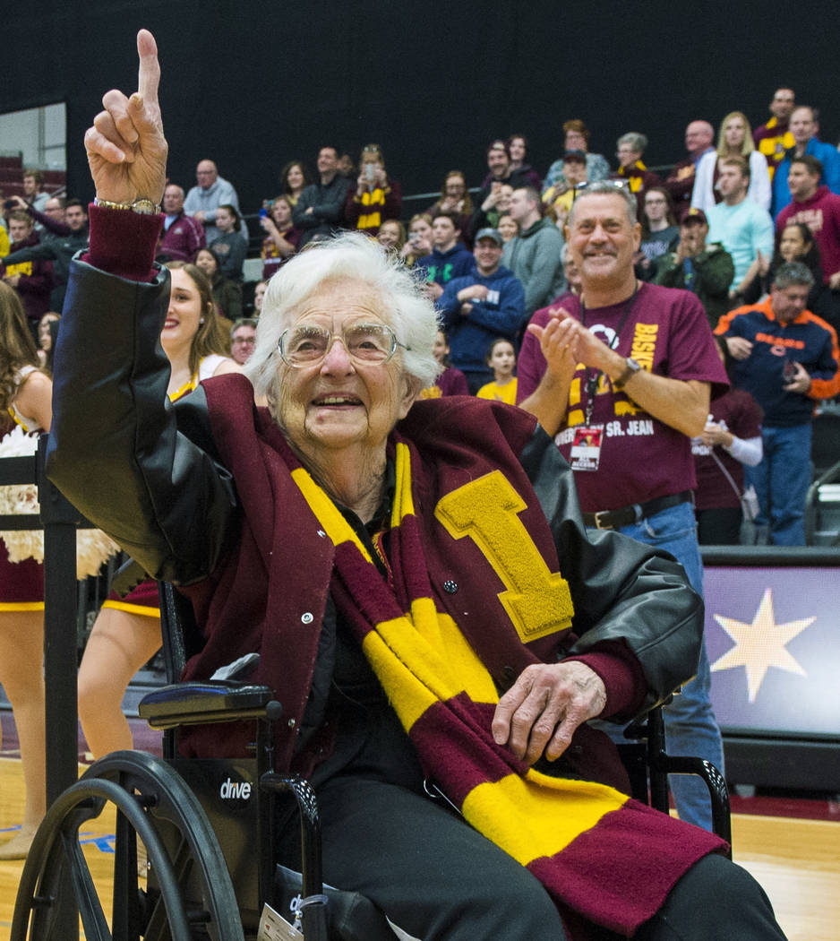In this March 25, 2018, file photo, Sister Jean Dolores-Schmidt, chaplain of the Loyola-Chicago basketball team, gestures during a rally for the team in Chicago.(Tyler LaRiviere/Chicago Sun-Times ...