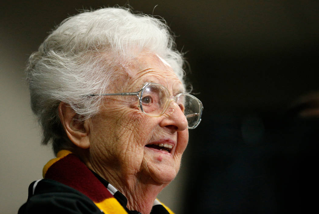 In this March 30, 2018, file photo, Loyola's Sister Jean Dolores Schmidt answers questions during a news conference for the Final Four NCAA college basketball tournament, in San Antonio. (AP Photo ...