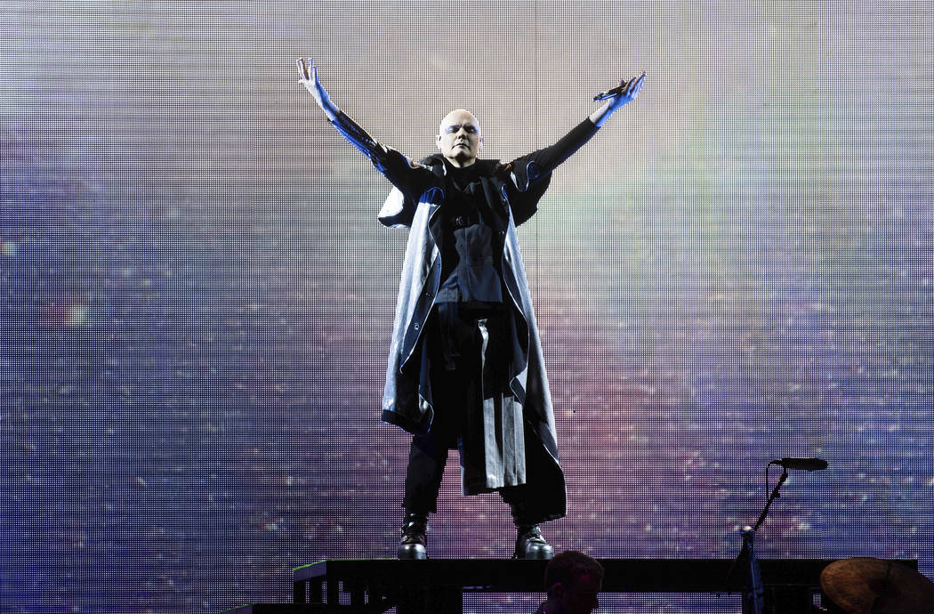 Billy Corgan, of Smashing Pumpkins, performs on stage at the Infinite Energy Center, Sunday, July 22, 2018, in Duluth, Ga. (Photo by Paul R. Giunta/Invision/AP)