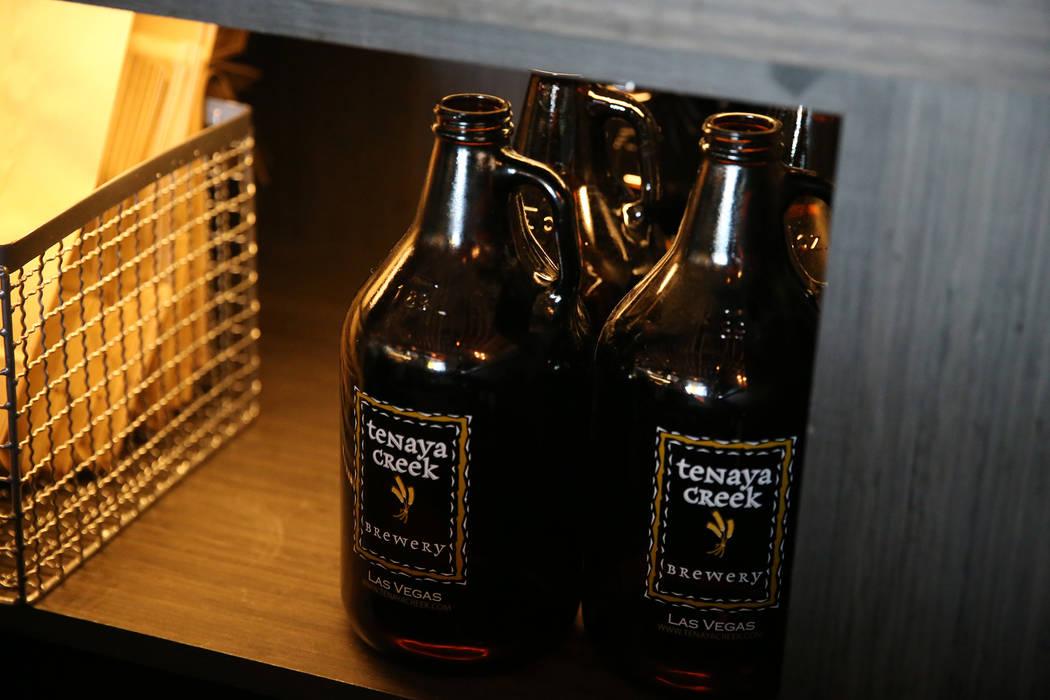 Empty beer growlers at Tenaya Creek Brewery in Las Vegas, Tuesday, Aug. 21, 2018. Erik Verduzco Las Vegas Review-Journal @Erik_Verduzco