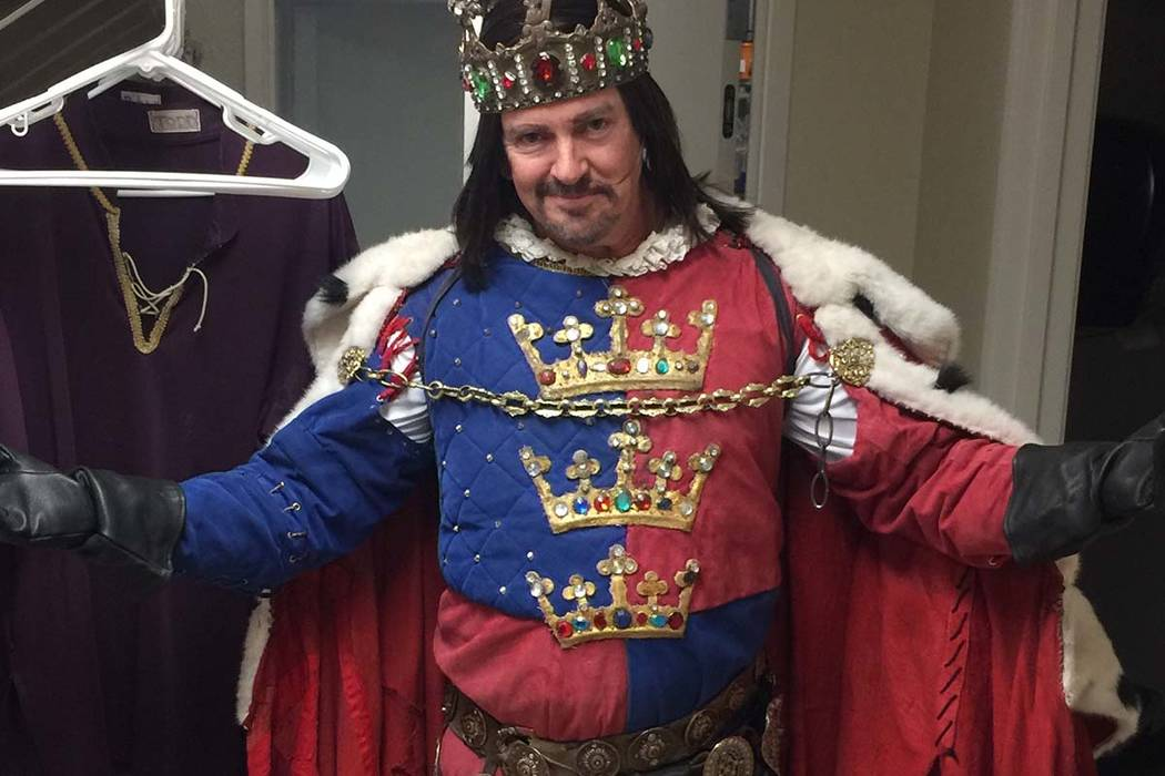 "Troy Burgess of ""Tournament of Kings"" is shown as King Arthur backstage at Excalibur on the Las Vegas Strip. (Troy Burgess)"