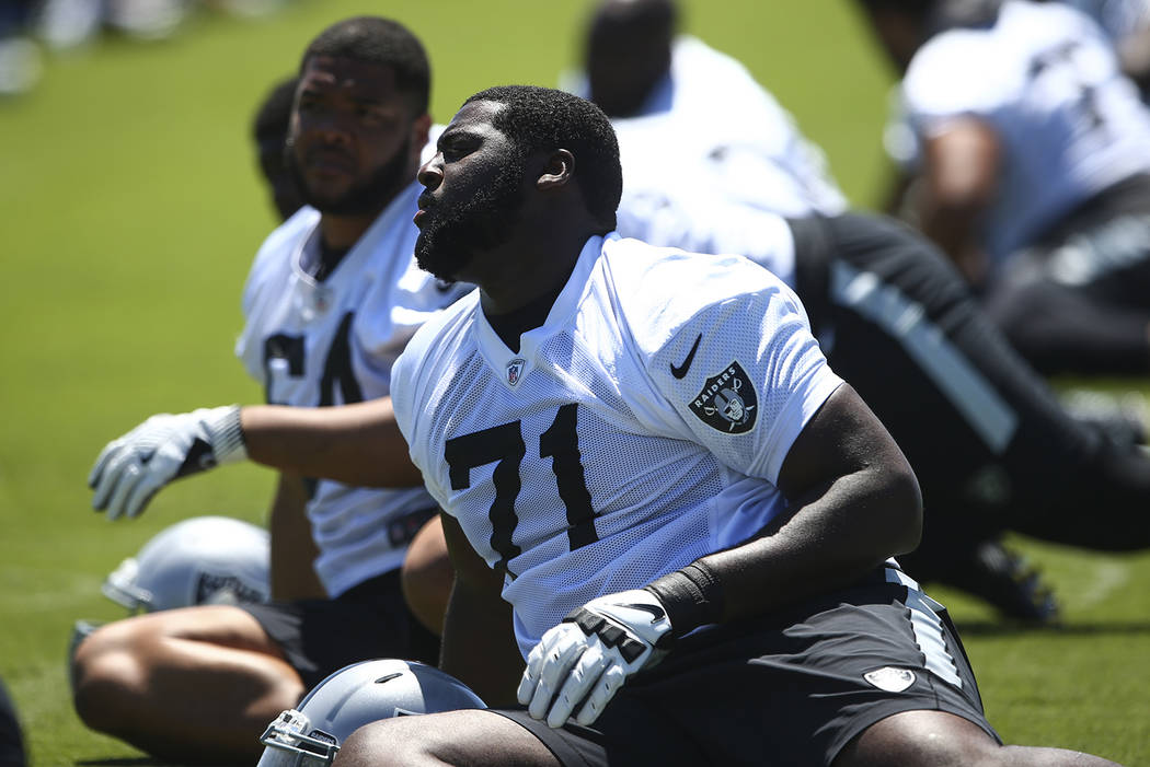 Oakland Raiders' David Sharpe (71) warms up during day two of a mini-camp at the Raiders headquarters and training facility in Alameda, Calif. on Wednesday, June 14, 2017. Chase Stevens Las Vegas ...