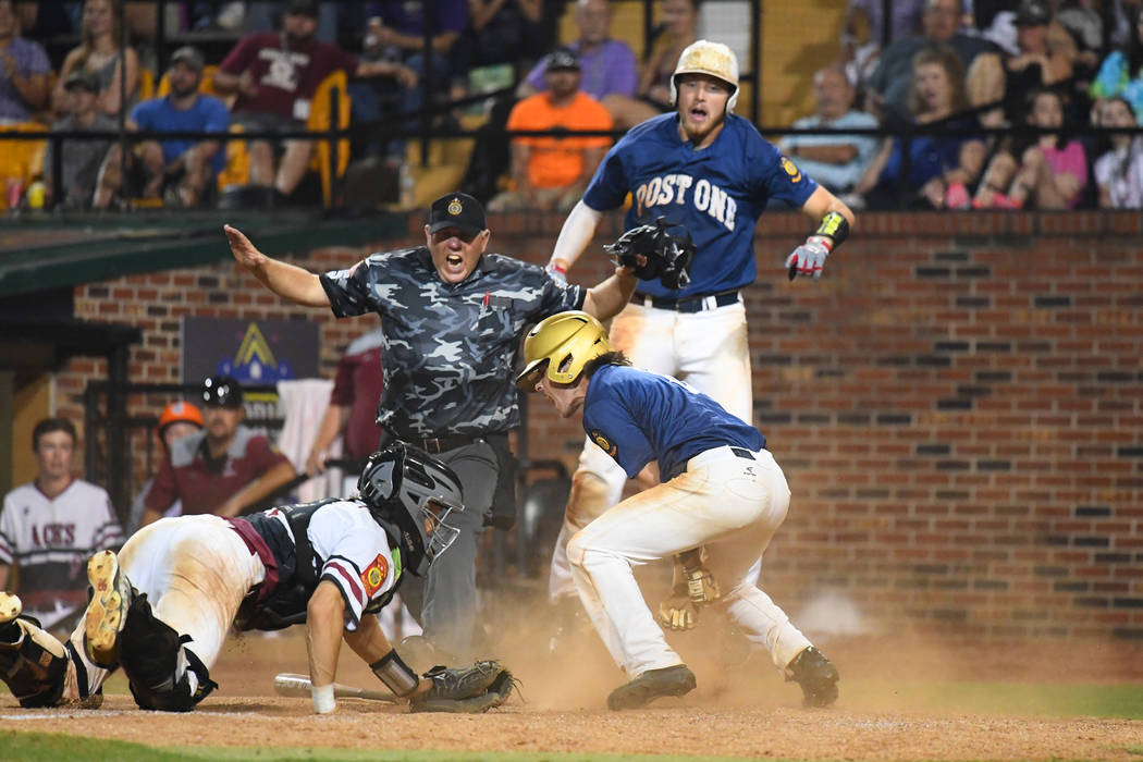 Wilmington, Del., Post 1wins the 2018 American Legion World Series championship with a walk off run in the eighth inning at Veterans Field at Keeter Stadium in Shelby, N.C., on Tuesday, Aug. 21, 2 ...