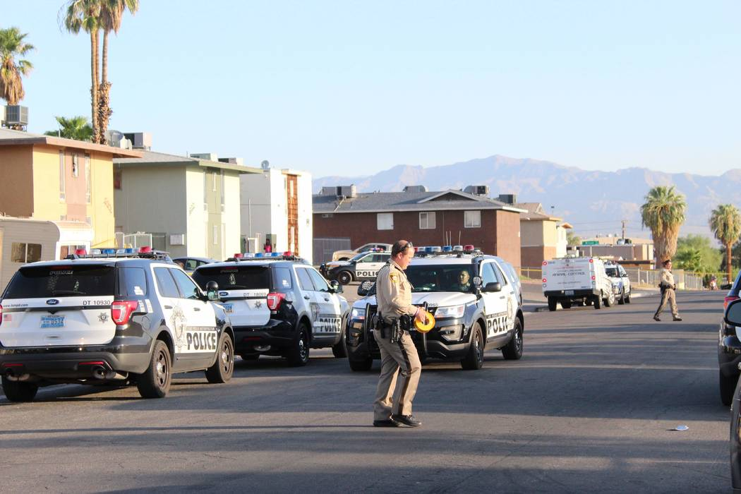 Las Vegas police are investigating after a constable shot a dog Wednesday, Aug. 22, 2018, on the 600 block of North 11th Street. (Max Michor/Las Vegas Review-Journal)