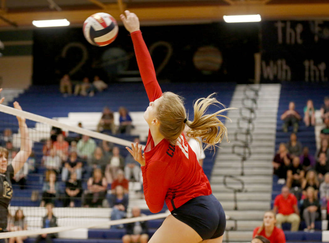Coronado's Sasha Bolla hits the ball against Foothill during the Class 4A Sunrise Region volleyball semifinal at Coronado High School in Henderson, Thursday, Nov. 2, 2017. Elizabeth Brumley Las Ve ...