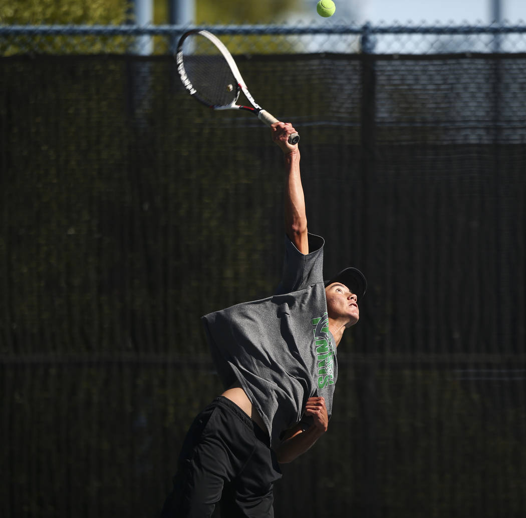Palo Verde's Axel Botticelli competes in the Class 4A state final at Darling Tennis Center in Las Vegas on Saturday, Oct. 21, 2017. Botticelli claimed the championship. Chase Stevens Las Vegas Rev ...