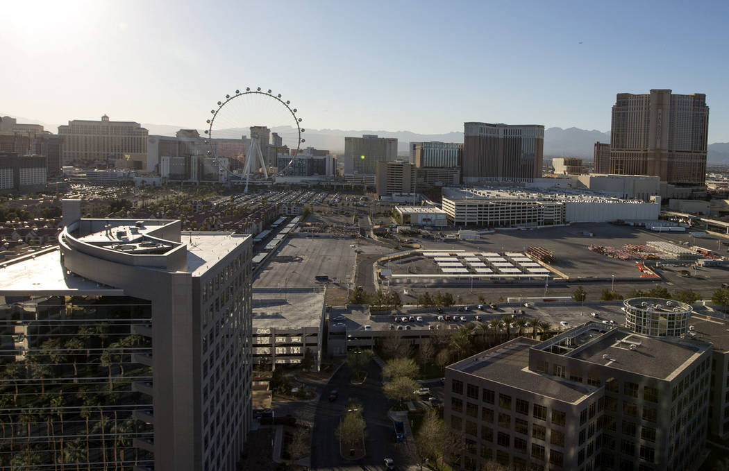 The proposed location for Madison Square Garden Co.'s new 18,000-seat MSG Sphere Arena at the corner of South Koval Lane and Sand Avenue in Las Vegas. (Richard Brian/Las Vegas Review-Journal) @veg ...