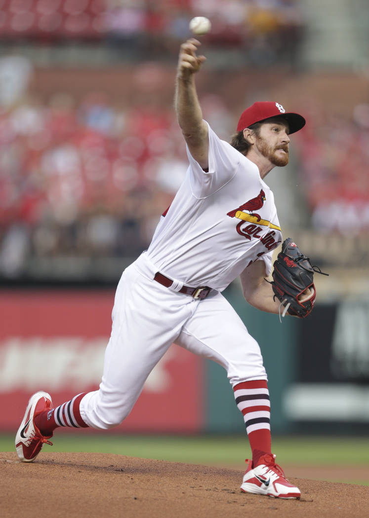 St. Louis Cardinals starting pitcher Miles Mikolas pitches in the first inning of a baseball game against the Washington Nationals, Monday, Aug. 13, 2018, in St. Louis. (AP Photo/Tom Gannam)