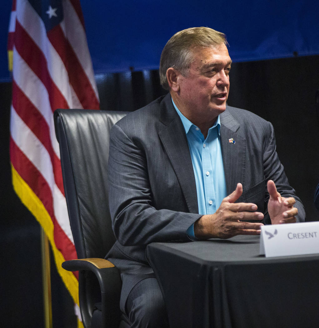 Former U.S. Rep. Cresent Hardy speaks during a roundtable discussion at Hope for Prisoners in Las Vegas on Wednesday, Aug. 22, 2018. Chase Stevens Las Vegas Review-Journal @csstevensphoto