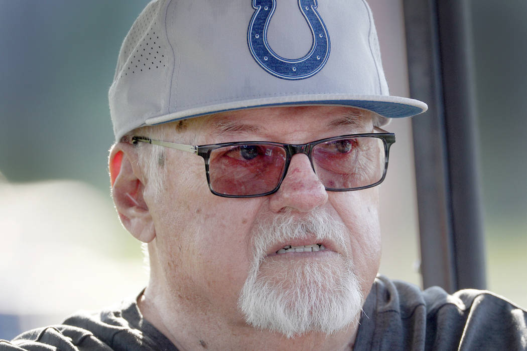 Bob Lamey watches the Indianapolis Colts NFL football team practice in Westfield, Ind., Thursday, Aug. 2, 2018. (The Indianapolis Star via AP)