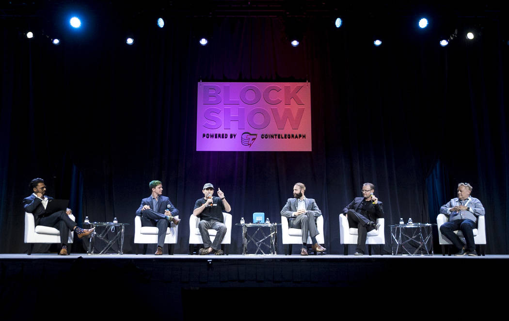 A panel of cryptocurrency analysts discuss the potential of a global ICO sell-off at Block Show at The Venetian in Las Vegas, Tuesday, Aug. 21, 2018. (Marcus Villagran/Las Vegas Review-Journal) @b ...