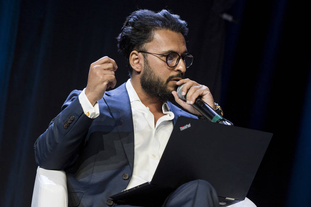 Naeem Aslam, CMA at ThinkMarkets, leads a panel at Block Show at The Venetian in Las Vegas, Tuesday, Aug. 21, 2018. (Marcus Villagran/Las Vegas Review-Journal) @brokejournalist
