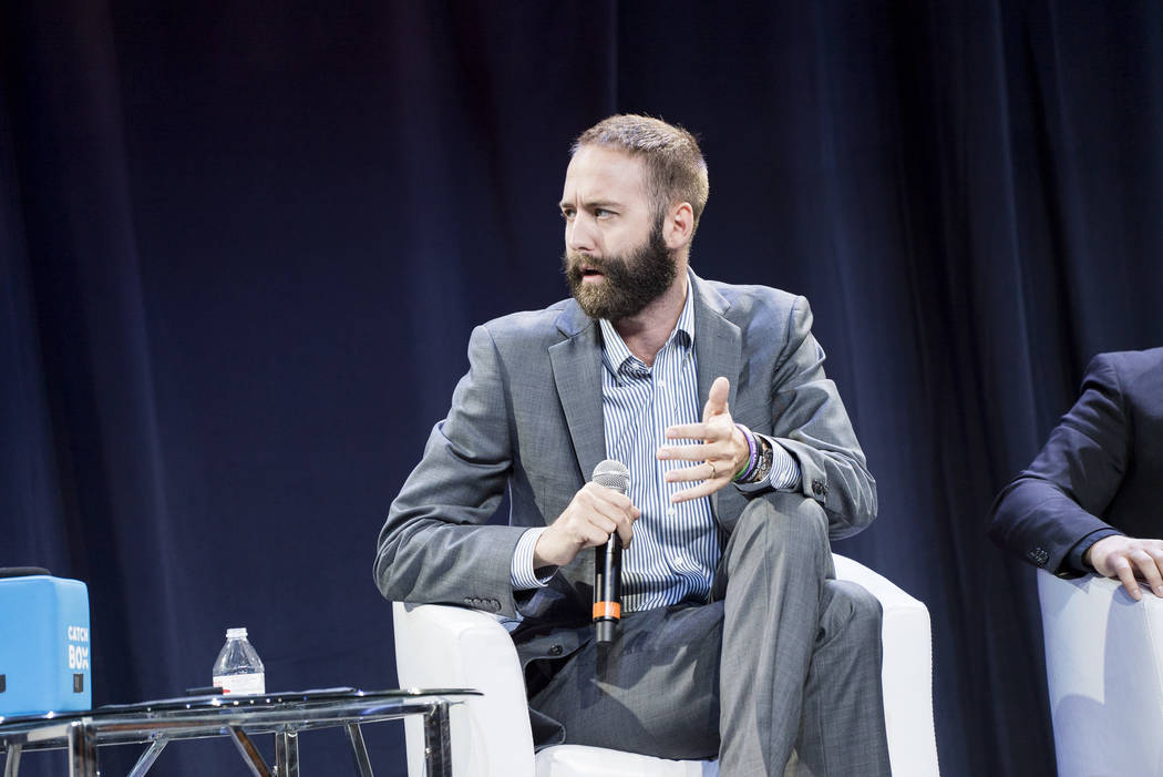 Zachary Reece, managing partner at BlockTrade Investments, speaks on a panel at Block Show at The Venetian in Las Vegas, Tuesday, Aug. 21, 2018. (Marcus Villagran/Las Vegas Review-Journal) @brokej ...