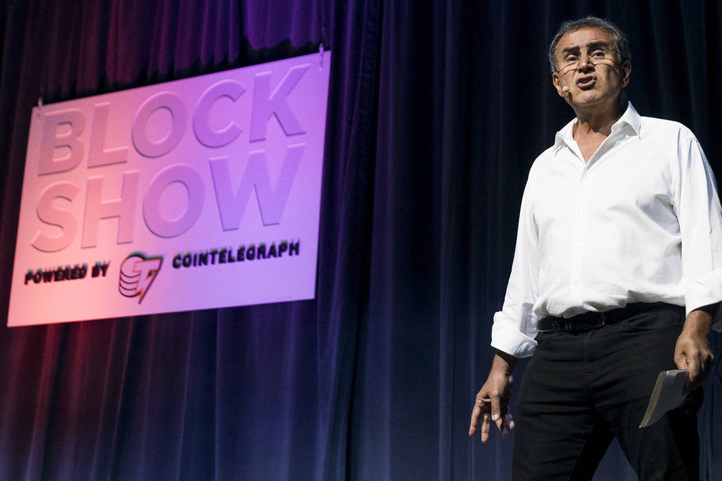 Nouriel Roubini, CEO of Roubini Macro Associates, talks about cyrptocurrencies at Block Show at The Venetian in Las Vegas, Tuesday, Aug. 21, 2018. (Marcus Villagran/Las Vegas Review-Journal) @brok ...