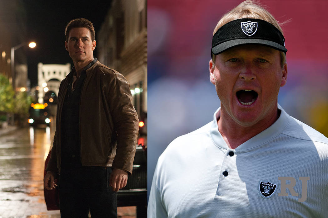 A composite photo of actor Tom Cruise, left, and Raiders head coach Jon Gruden, right. (The Associated Press)