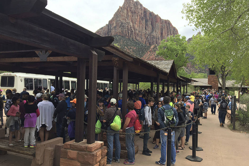 People line up at Zion National Park in Utah in November 2016. (Zion National Park via AP)