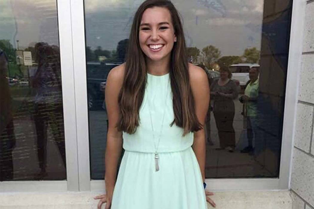 This undated photo released by the Iowa Department of Criminal Investigation shows Mollie Tibbetts, a University of Iowa student who was reported missing from her hometown in the eastern Iowa city ...