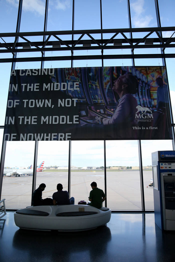 An advertisement for the new MGM Springfield $960 million casino in Massachusetts is seen at Bradley International Airport in Windsor Locks, Connecticut Wednesday, Aug. 22, 2018. The casino opens ...