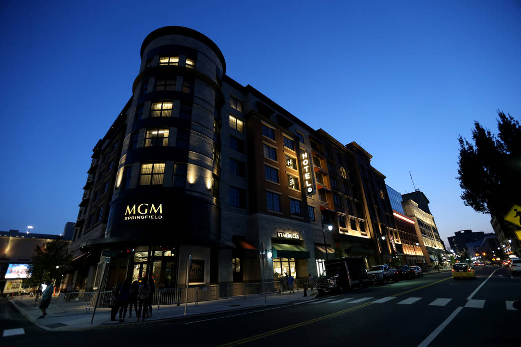 The new MGM Springfield $960 million casino in Massachusetts is seen Wednesday, Aug. 22, 2018. The casino opens Friday. K.M. Cannon Las Vegas Review-Journal @KMCannonPhoto