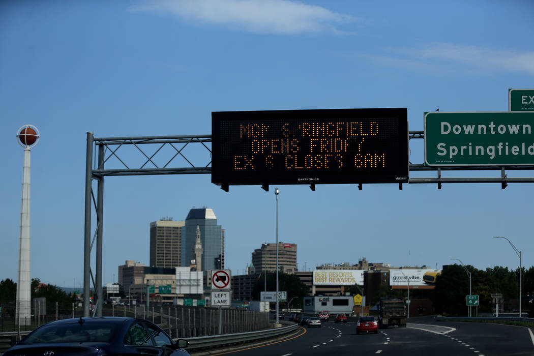 A message board on Interstate 91 near the new MGM Springfield $960 million casino in Massachusetts Thursday, Aug. 23, 2018, warns of road closures. The casino opens Friday. K.M. Cannon Las Vegas R ...
