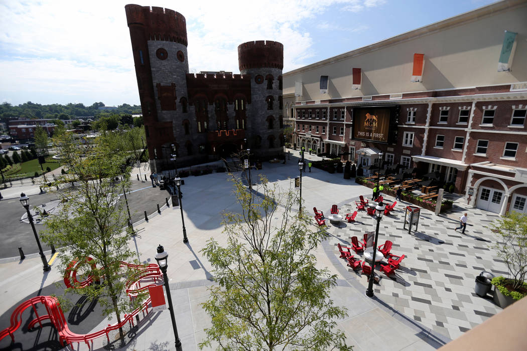 Armory Square including the relocated 19th-century Armory, left, at new MGM Springfield $960 million casino in Massachusetts Thursday, Aug. 23, 2018. The casino opens Friday. K.M. Cannon Las Vegas ...