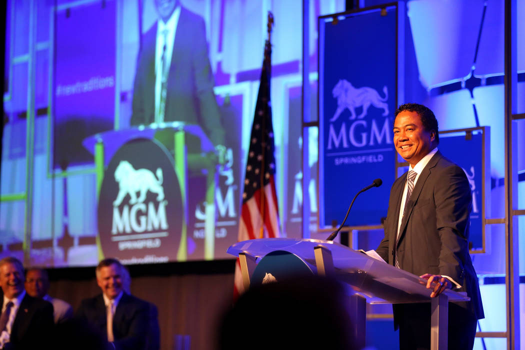 MGM Springfield President Mike Mathis speaks during media day for the new $960 million casino in Massachusetts Thursday, Aug. 23, 2018. The casino opens Friday. K.M. Cannon Las Vegas Review-Journa ...