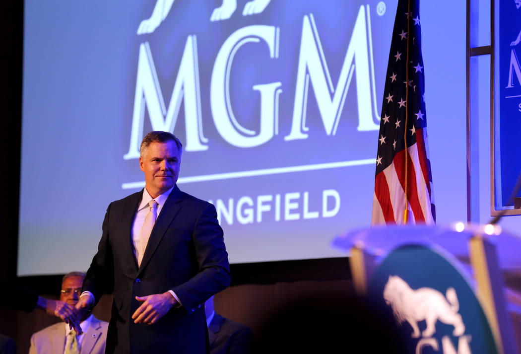 MGM Resorts International Chairman and CEO Jim Murren prepares to speak during media day for the new MGM Springfield $960 million casino in Massachusetts Thursday, Aug. 23, 2018. The casino opens ...