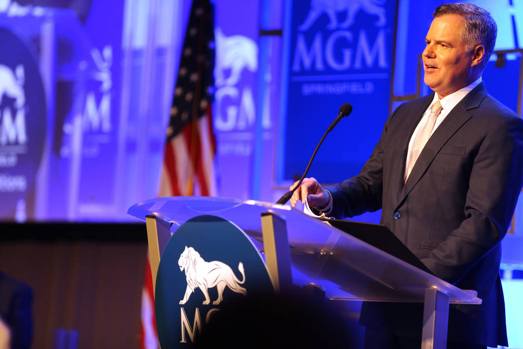 MGM Resorts International Chairman and CEO Jim Murren speaks during media day for the new MGM Springfield $960 million casino in Massachusetts Thursday, Aug. 23, 2018. The casino opens Friday. K.M ...