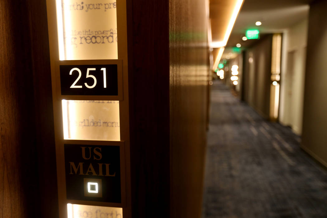 """Do Not Disturb"" signs are patterned after 19th-century mail drops at the new MGM Springfield $960 million casino in Massachusetts during a media tour Thursday, Aug. 23, 2018. The casino ..."