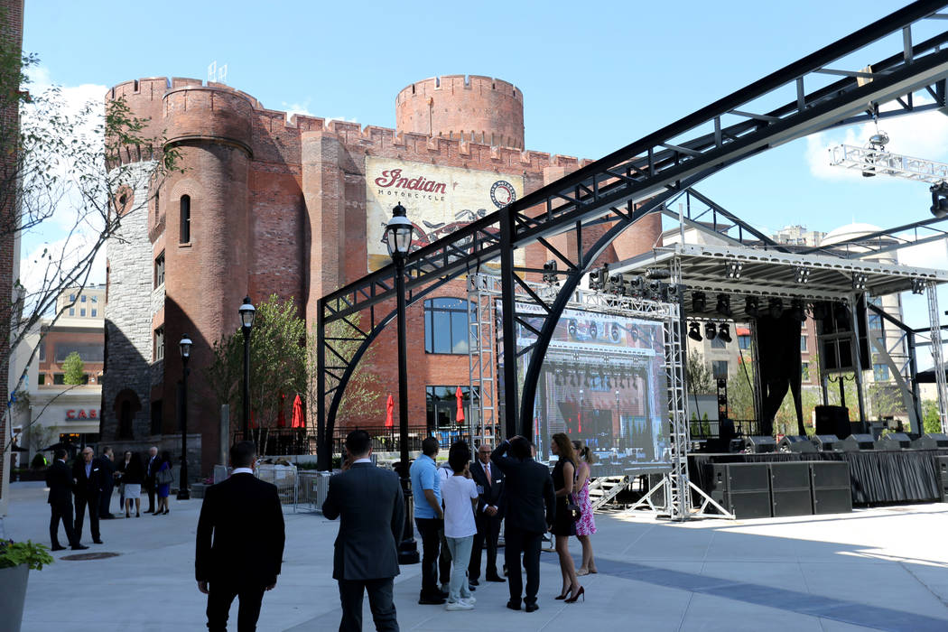 A stage is set up in Armory Square at the new MGM Springfield $960 million casino in Massachusetts during a media tour Thursday, Aug. 23, 2018. The casino opens Friday. K.M. Cannon Las Vegas Revie ...