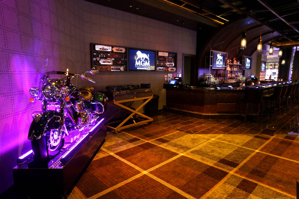 "Commonwealth Bar and Lounge at new MGM Springfield $960 million casino in Massachusetts Thursday, Aug. 23, 2018. A drink at the bar called the ""Indian Sidecar"" costs $25,000 and comes wi ..."