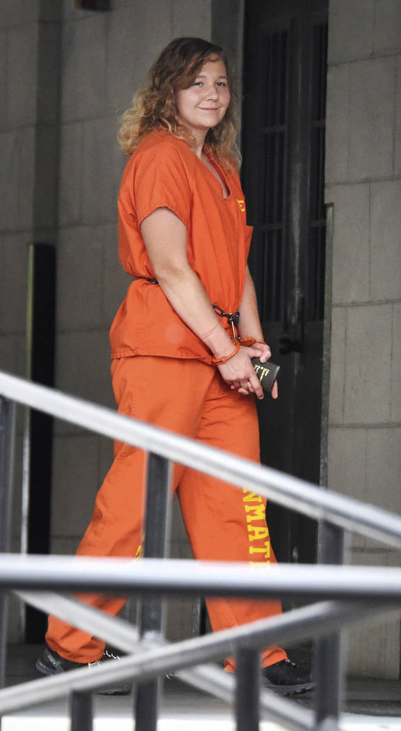 Reality Winner arrives at a courthouse in Augusta, Ga., Thursday, Aug. 23, 2018, for her sentencing after she pleaded guilty in June to copying a classified U.S. report and mailing it to an uniden ...
