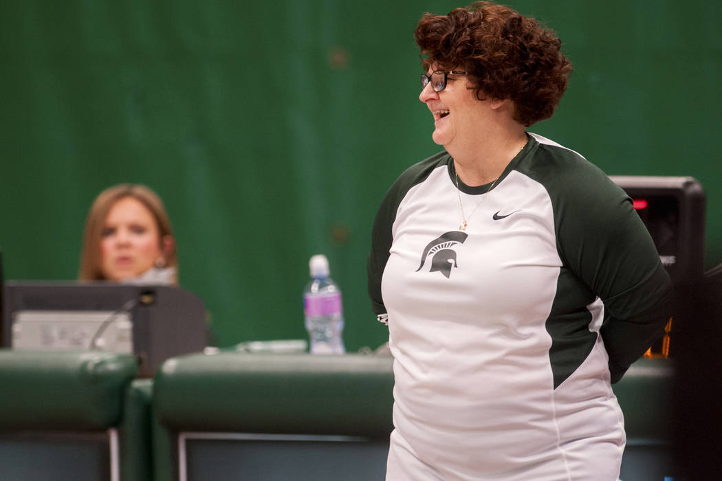 Former Michigan State University gymnastics head coach Kathie Klages reacts during the womens gymnastic's meet in East Lansing, Mich. on Feb. 19, 2016. (Sundeep Dhanjal/The State News via AP File)